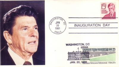 1981 & 1985 Ronald Reagan inauguration dual cancellation cachet cover