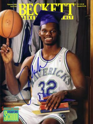 Jamal Mashburn autographed Dallas Mavericks Beckett Basketball magazine cover