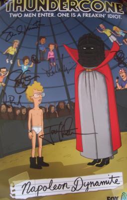 Napoleon Dynamite cast autographed 2011 Comic-Con poster (Jon Heder Efren Ramirez)