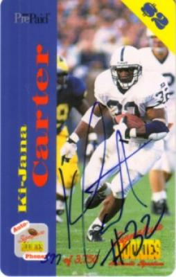 Ki-Jana Carter certified autograph Penn State phone card