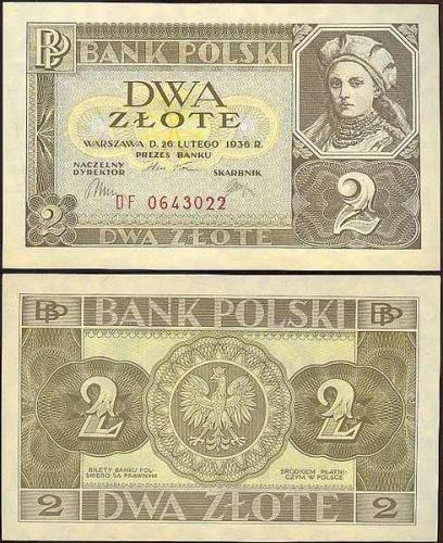 Banknotes; 2 zote banknote (Poland, 1936)