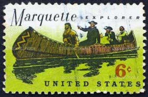 Stamps; 6 cents; Marquette explorer; UNITED STATES OF AMERICA - CIRCA 1968: