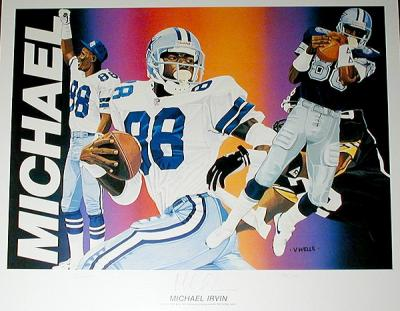 Michael Irvin autographed Cowboys lithograph by Vernon Wells ltd. edit. 750