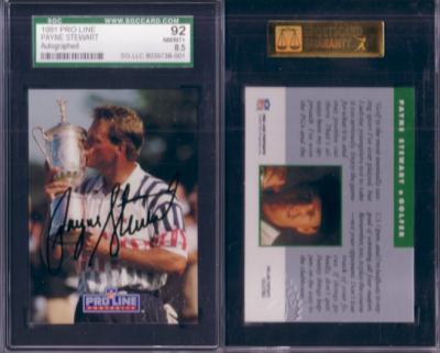 Payne Stewart certified autograph 1991 NFL Pro Line golf card graded SGC 92