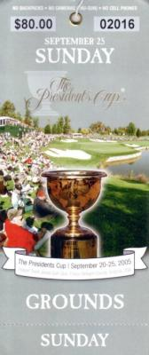 2005 Presidents Cup Sunday ticket
