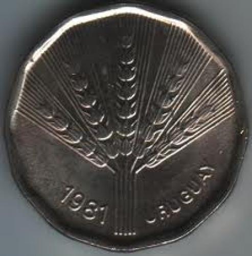 Coins; Uruguay 2 Peso Nuevo 1981; Back image
