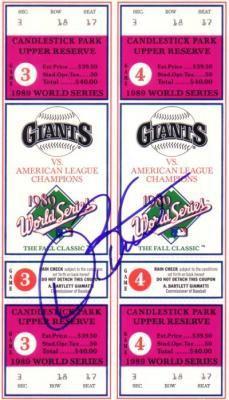 Dave Stewart autographed Oakland A's 1989 World Series tickets