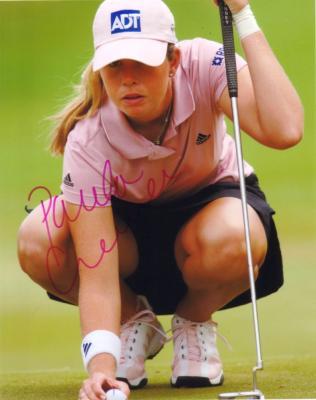 Paula Creamer autographed 8x10 photo lining up putt