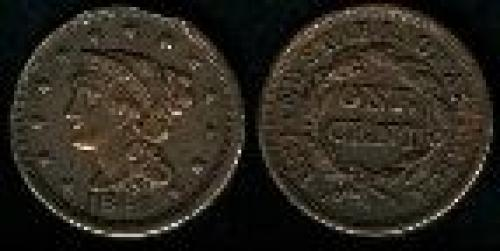 1 cent; Year: 1840-1857; Large Cent. Coronet Braided Hair (variety 2)