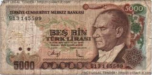 Banknotes: Turkey 5000 Lira 1970 front image]