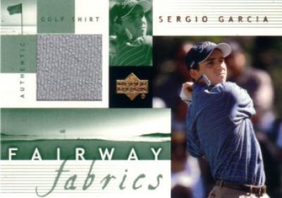 Sergio Garcia 2002 Upper Deck golf Fairway Fabrics tournament worn shirt card