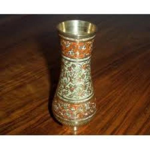 Antiques;Decorative Indian Brass Vase With Inlaid Enamel
