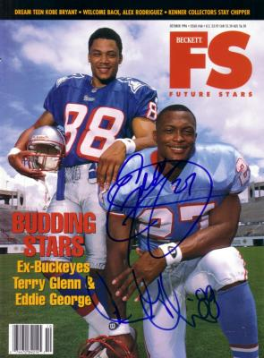 Eddie George & Terry Glenn autographed 1996 Beckett magazine cover
