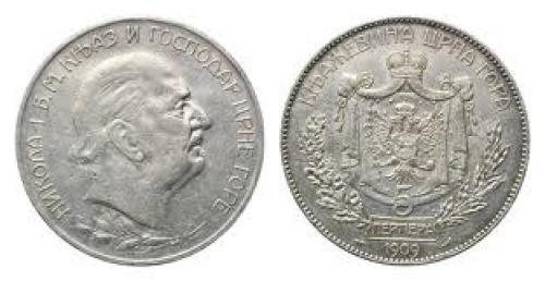 Coins;  Montenegro, Nicholas I., 1860-1918, 5 Perpera 1909