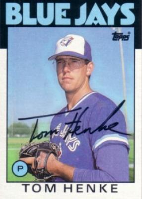 Tom Henke autographed Toronto Blue Jays 1986 Topps card