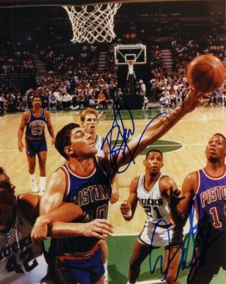 Bill Laimbeer & Dennis Rodman autographed Detroit Pistons 8x10 photo