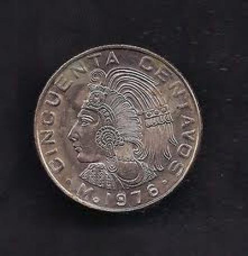 Coins; Mexico 50 Centavos 1976 Coin KM# 452