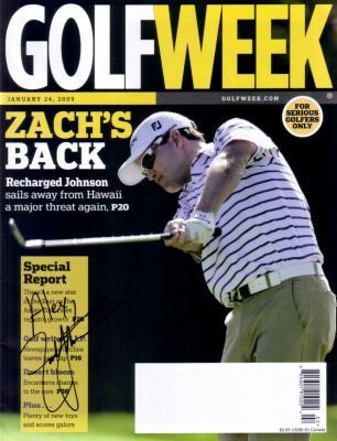 Zach Johnson autographed 2009 Golf Week magazine (to Alex)