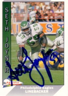 Seth Joyner autographed Philadelphia Eagles 1991 Pacific card