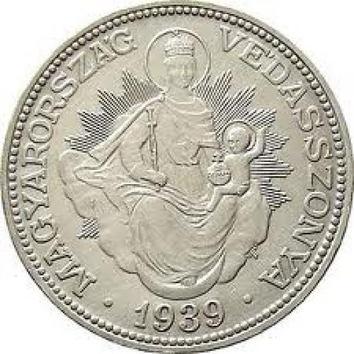 Coins;HUNGARY 2 PENGO 1939 SILVER COIN