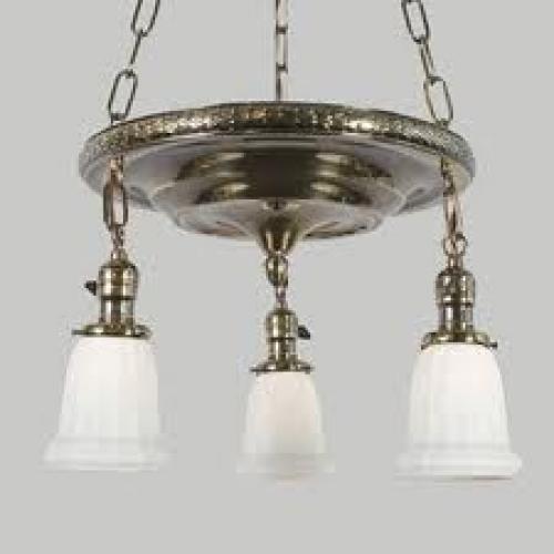 Antique Brass 3-Light Laurel Leaf Drop Pan, c1916