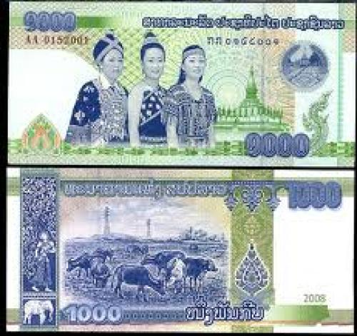 Banknotes;  The Bank of the Laos PDR introduced a new 1000 kip banknote