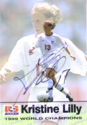 Kristine Lilly autographed 1999 Women's World Cup Champions soccer card