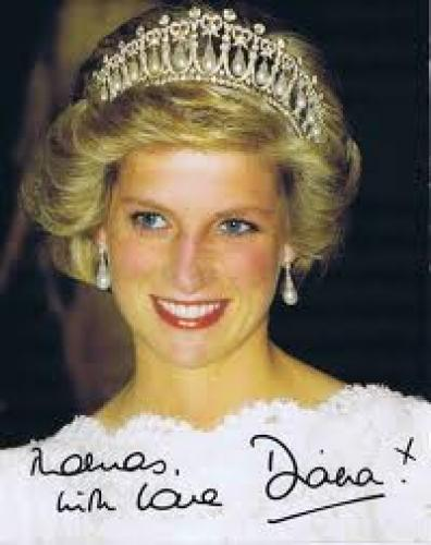 Memorabilia; Princess Diana photo with autograph