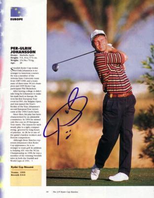 Per-Ulrik Johansson autographed full page golf magazine photo