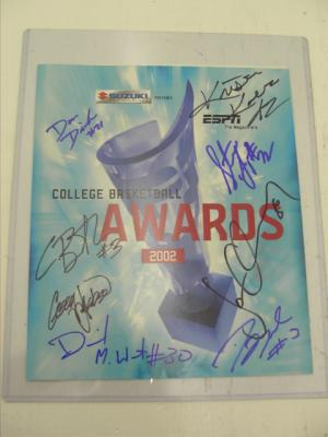Dwyane Wade Caron Butler David West autographed 2002 ESPN College Basketball Awards program
