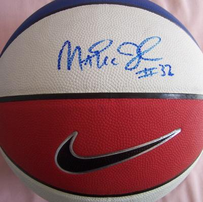 Magic Johnson autographed Nike red white & blue basketball