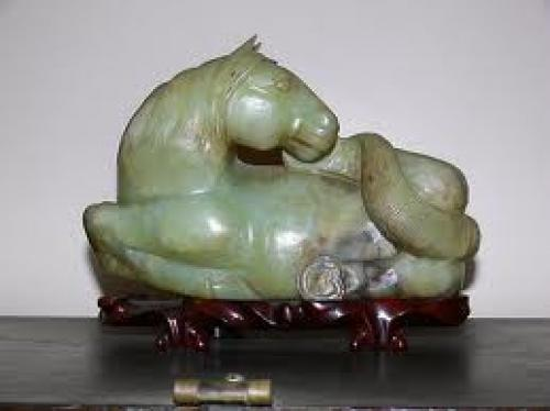Antique Asian Jade Horse on Teak bed by Sandra Chung