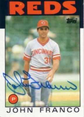 John Franco autographed Cincinnati Reds 1986 Topps card