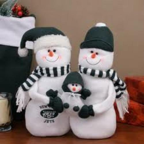 New York Jets Decorative Table Top Snowman
