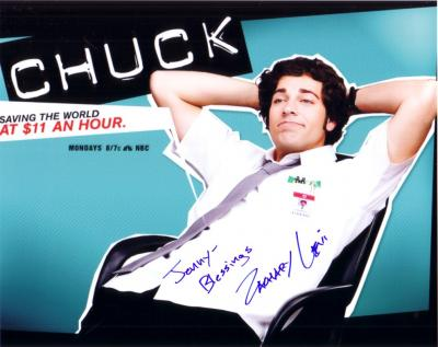 Zachary Levi autographed Chuck 8x10 photo (to Jenny)