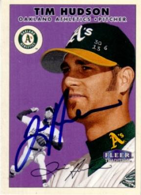 Tim Hudson autographed Oakland A's 2000 Fleer Tradition card