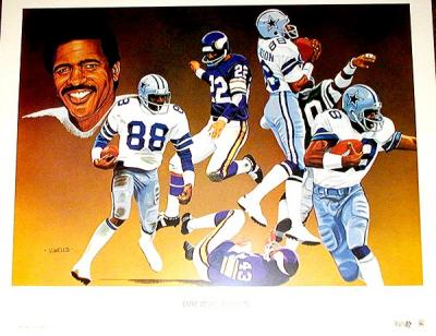 Drew Pearson autographed Dallas Cowboys lithograph by Vernon Wells ltd. edit. 750