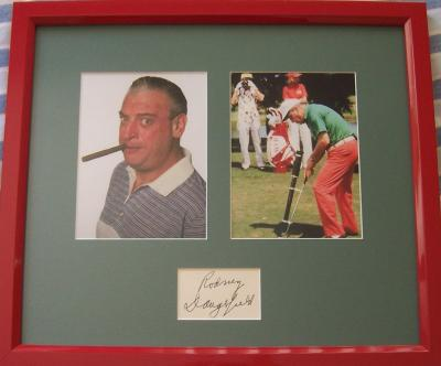 Rodney Dangerfield autograph framed with Caddyshack photos