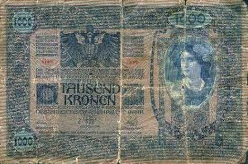 Banknote of 1000 Austrian Kronen, which circulated in Berezhany