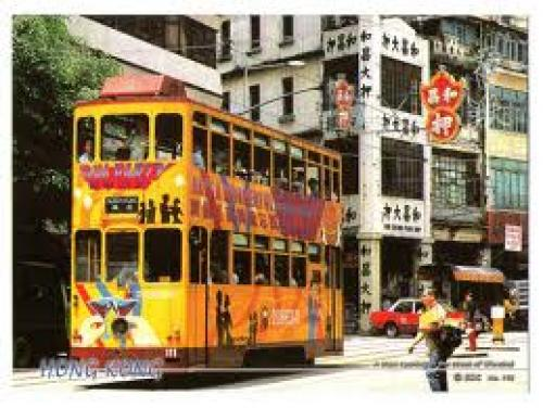 Hong Kong - Wanchai. A tram running in the street of Wanchai