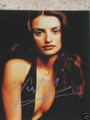 Penelope Cruz autographed 8x10 cleavage photo