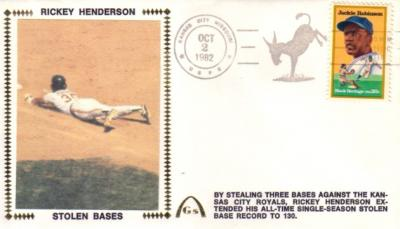 Rickey Henderson Stolen Base Record Oakland A's 1982 Gateway cachet envelope