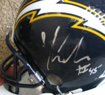 Shawne Merriman autographed San Diego Chargers mini helmet