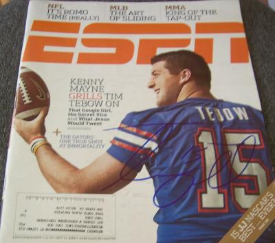 Tim Tebow autographed Florida Gators 2009 ESPN Magazine
