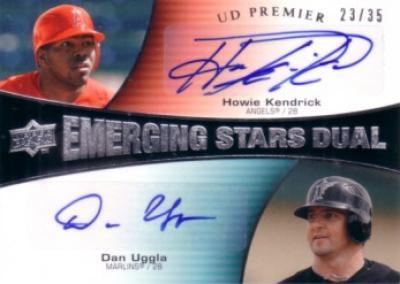 Howie Kendrick & Dan Uggla certified autograph 2008 Upper Deck Premier card #23/35