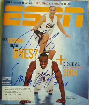 Emeka Okafor & Diana Taurasi autographed UConn 2003 ESPN Magazine