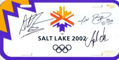 Apolo Anton Ohno Derek Parra Jill Bakken autographed 2002 Salt Lake City Olympics license plate