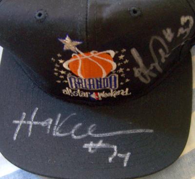 Hakeem Olajuwon & Otis Thorpe (Rockets) autographed 1992 NBA All-Star Game cap