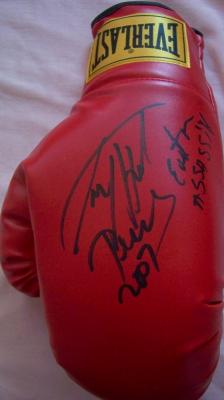 Larry Holmes autographed Everlast leather boxing glove inscribed Easton Assassin