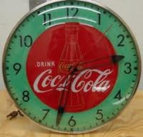 Memorabilia; Clock; 1950s Coca-Cola